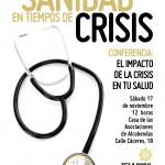 CRISIS, SANIDAD y SALUD: Conferencia este sábado 17N a las 12h en Alcobendas